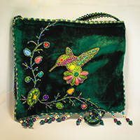 hummingbird beaded purse