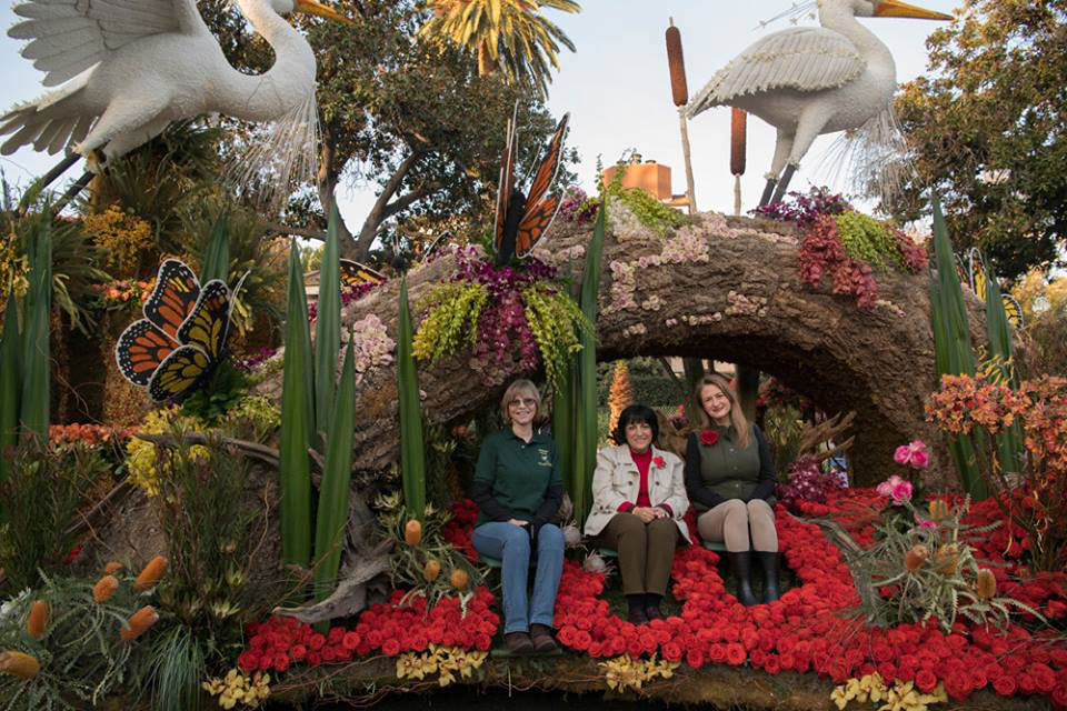 Rose Parade float for City of Torrance with Suzan Hubert, President of Friends of Madrona Marsh Board